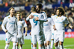Isco Alarcon of Real Madrid (C) celebrates after scoring his goal with his teammates during the La Liga 2017-18 match between Levante UD and Real Madrid at Estadio Ciutat de Valencia on 03 February 2018 in Valencia, Spain. Photo by Maria Jose Segovia Carmona / Power Sport Images
