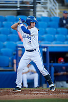 Dunedin Blue Jays catcher Riley Adams (23) at bat during a game against the Fort Myers Miracle on April 17, 2018 at Dunedin Stadium in Dunedin, Florida.  Dunedin defeated Fort Myers 5-2.  (Mike Janes/Four Seam Images)