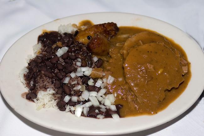 Marinated Roast Pork, Blacks Beans, White Rice, Fried Sweet Plantains, Columbia Restaurant, Orlando, Florida