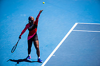 10th February 2021, Melbourne, Victoria, Australia; Serena Williams of the United States of America serves the ball during round 2 of the 2021 Australian Open on February 10 2020, at Melbourne Park in Melbourne, Australia.