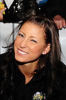 Oct. 27, 2011; Las Vegas, NV, USA: NHRA pro mod driver Leah Pruett during the fanfest at Fremont Street. Mandatory Credit: Mark J. Rebilas-US PRESSWIRE