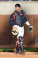 Franco Valdes #33 of the Virginia Cavaliers on defense versus the East Carolina Pirates at Clark-LeClair Stadium on February 19, 2010 in Greenville, North Carolina.   Photo by Brian Westerholt / Four Seam Images