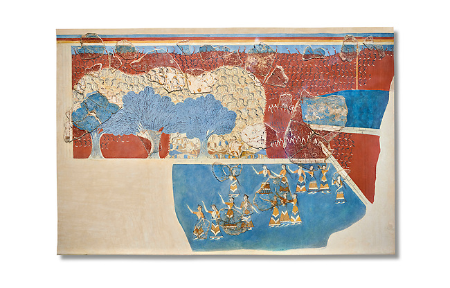 Minoan 'Sacred Grove and Dance Freco', wall art from Knossos Palace, 1600-1450 BC. Heraklion Archaeological Museum.   White Background. <br /> <br /> This Neopalatial period Minoan fredco comes from thecauseway of the west facade of the palace complex.