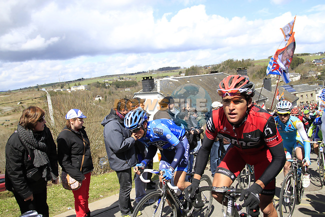 The peloton including Greg Van Avermaet (BEL) BMC Racing Team climb Cote de Saint-Roch during the 98th edition of Liege-Bastogne-Liege, running 257.5km from Liege to Ans, Belgium. 22nd April 2012.  <br /> (Photo by Eoin Clarke/NEWSFILE).