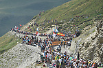 Riders climb towards the finish line atop the Col du Tourmalet near the end of Stage 14 of the 2019 Tour de France running 117.5km from Tarbes to Tourmalet Bareges, France. 20th July 2019.<br /> Picture: Colin Flockton | Cyclefile<br /> All photos usage must carry mandatory copyright credit (© Cyclefile | Colin Flockton)