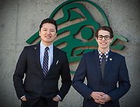 USUAA President Alec Burris, right, and Vice President Geser Bat-Erdene, outside UAA's Student Union.