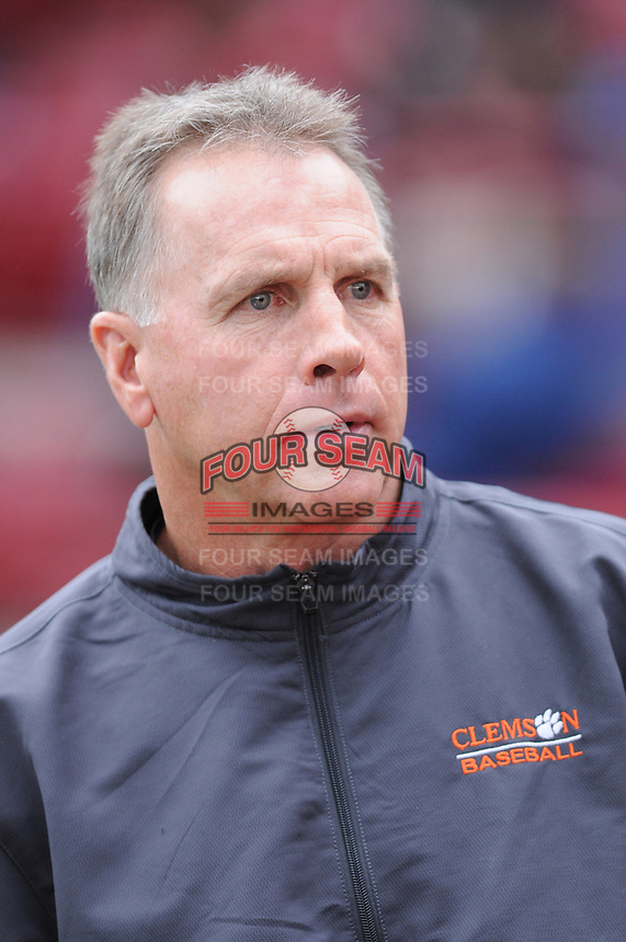 Head coach Jack Leggett (7) of the Clemson Tigers in a game against the South Carolina Gamecocks on March 3, 2012, at Carolina Stadium in Columbia, South Carolina. Carolina won, 9-6. (Tom Priddy/Four Seam Images)