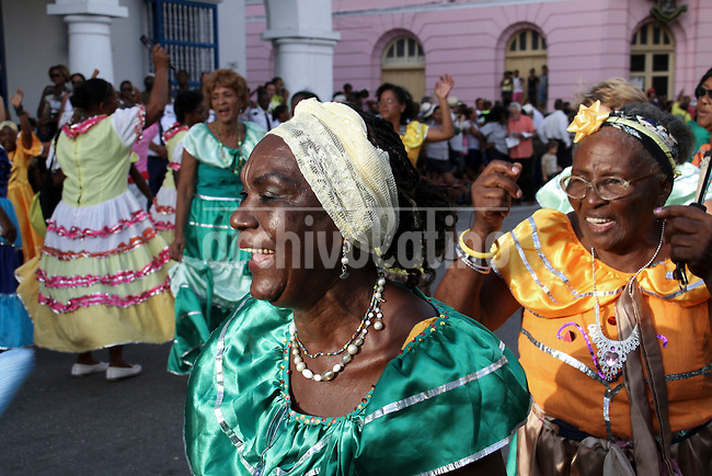 Cubans perform a traditional dance , with reminiscences of candomble afro dances, in downtown Havana