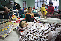Young victims of earthquake under treatment in a hospital of Kathmandu, Nepal.  A 7.3 magnitude earthquake killed at least 37 people and spread panic in Nepal on Tuesday, bringing down buildings already weakened by a devastating tremor less than three weeks ago and unleashing landslides in Himalayan valleys near Mount Everest. Kathmandu, Nepal. May 12, 2015