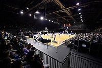 A general view of TSB Bank Arena during the round one NBL match between the Wellington Saints and the Canterbury Rams at TSB Bank Arena, Wellington, New Zealand on Friday 30 April 2021.<br /> Photo by Masanori Udagawa. <br /> www.photowellington.photoshelter.com