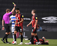 17th October 2020; Vitality Stadium, Bournemouth, Dorset, England; English Football League Championship Football, Bournemouth Athletic versus Queens Park Rangers; Bright Osayi-Samuel of Queens Park Rangers receives a yellow card for a foul on Adam Smith of Bournemouth