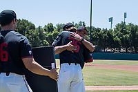 STANFORD, CA - MAY 29: Jonathan Worley, David Esquer before a game between Oregon State University and Stanford Baseball at Sunken Diamond on May 29, 2021 in Stanford, California.