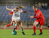Charlotte Cranshoff (18) of OHL and Stefanie Deville (18) of Woluwe in action during a female soccer game between FC Femina White Star Woluwe and Oud Heverlee Leuven on the fourth matchday in the 2021 - 2022 season of Belgian Scooore Womens Super League , Friday 10 th of September 2021  in Woluwe , Belgium . PHOTO SPORTPIX   SEVIL OKTEM