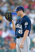 New Orleans Zephyrs pitcher Sean West #45 looks in for the catchers sign during the game against the Round Rock Express at the Dell Diamond on July 21, 2011 in Round Rock, Texas.  New Orleans defeated Round Rock 7-4.  (Andrew Woolley/Four Seam Images)