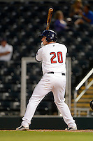 Fort Myers Miracle catcher Matt Koch #20 during a game against the Jupiter Hammerheads on April 9, 2013 at Hammond Stadium in Fort Myers, Florida.  Fort Myers defeated Jupiter 1-0.  (Mike Janes/Four Seam Images)