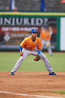 St. Lucie Mets third baseman Wilmer Reyes (43) during a game against the Clearwater Threshers on August 11, 2018 at Spectrum Field in Clearwater, Florida.  St. Lucie defeated Clearwater 11-0.  (Mike Janes/Four Seam Images)