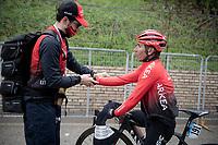 Nairo Quintana (COL/Arkea Samsic) needing help putting warm clothes on after finishing a wet & cold stage<br /> <br /> Stage 5 from Castellalto to Castelfidardo (205km)<br /> <br /> 56th Tirreno-Adriatico 2021 (2.UWT) <br /> <br /> ©kramon