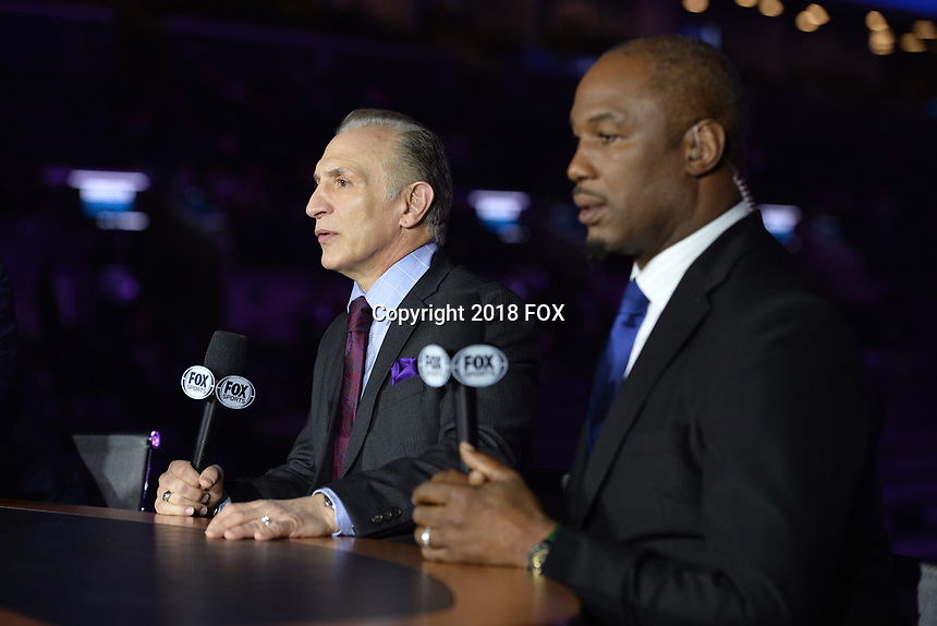 """BROOKLYN, NY - DECEMBER 22:  Sports commentators Ray Mancini and Lennox Lewis attend the Fox Sports and Premier Boxing Champions  December 22 """"PBC on Fox"""" Fight Night at the Barclays Center on December 22, 2018 in Brooklyn, New York. (Photo by Anthony Behar/Fox Sports/PictureGroup)"""