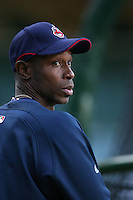 Kenny Lofton of the Cleveland Indians during batting practice before a game from the 2007 season at Angel Stadium in Anaheim, California. (Larry Goren/Four Seam Images)