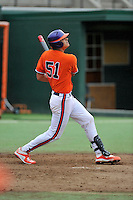 Freshman infielder Stokes Brownlee (51) of the Clemson Tigers in a fall practice intra-squad Orange-Purple scrimmage on Sunday, September 27, 2015, at Doug Kingsmore Stadium in Clemson, South Carolina. (Tom Priddy/Four Seam Images)