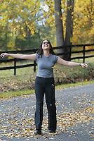 fall leaves happy girl