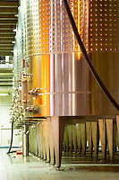 Stainless steel wine fermentation tanks at the Georges Duboeuf winery in Romaneche-Thorins, Beaujolais, Bourgogne