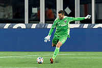 FOXBOROUGH, MA - APRIL 24: Chris Seitz #1 of D.C. United free kick during a game between D.C. United and New England Revolution at Gillette Stadium on April 24, 2021 in Foxborough, Massachusetts.