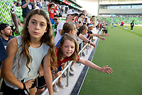 AUSTIN, TX - JUNE 16: Fans cheer before a game between Nigeria and USWNT at Q2 Stadium on June 16, 2021 in Austin, Texas.