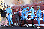 Astana-Acca Due O team at sign on before start the 2015 Strade Bianche Women Elite cycle race 103km over the white gravel roads from San Gimignano to Siena, Tuscany, Italy. 8th March 2015<br /> Photo: Eoin Clarke www.newsfile.ie