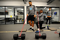 (L-R) Cameron Carter-Vickers and Joel Asoro of Swansea City in the gym during the Swansea City Training at The Fairwood Training Ground in Swansea, Wales, UK. Tuesday 08 January 2019