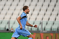 Calcio, Serie A: Juventus - Lazio, Allianz Stadium, July 20, 2020.<br /> Lazio's Ciro Immobile celebrates after scoring during the Italian Serie A football match between Juventus and Lazio at the Allianz stadium in Turin, July 20, 2020.<br /> UPDATE IMAGES PRESS/Isabella Bonotto