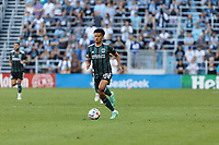 ST PAUL, MN - AUGUST 14: Niko Hamalainen #15 of the Los Angeles Galaxy with the ball during a game between Los Angeles Galaxy and Minnesota United FC at Allianz Field on August 14, 2021 in St Paul, Minnesota.
