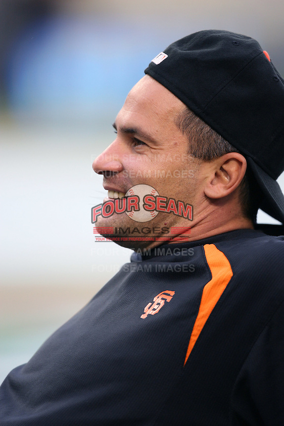 Omar Vizquel of the San Francisco Giants during batting practice before a game from the 2007 season at Dodger Stadium in Los Angeles, California. (Larry Goren/Four Seam Images)