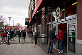 April 18, 2020<br /> Brooklyn, New York<br /> Atlantic Center<br /> <br /> People wearing masks wait in long lines outside Target in Brooklyn.