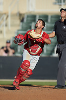 Lakewood BlueClaws catcher Colby Fitch (25) on defense against the Kannapolis Intimidators at Kannapolis Intimidators Stadium on July 8, 2018 in Kannapolis, North Carolina.  The BlueClaws defeated the Intimidators 4-3.  (Brian Westerholt/Four Seam Images)
