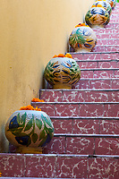 Oaxaca, Mexico.  Flower Pots with Marigolds on Stairway to Roof.