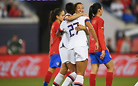 JACKSONVILLE, FL - NOVEMBER 10: Lynn Williams #27 and Christen Press #23  celebrate a USWNT goal during a game between Costa Rica and USWNT at TIAA Bank Field on November 10, 2019 in Jacksonville, Florida.