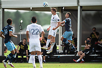LAKE BUENA VISTA, FL - JULY 23: Boris Sekulic #2 of the Chicago Fire heads the ball during a game between Chicago Fire and Vancouver Whitecaps at Wide World of Sports on July 23, 2020 in Lake Buena Vista, Florida.