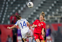 CARSON, CA - FEBRUARY 07: Priscila Chinchilla #14 of Costa Rica and Janine Beckie #16 of Canada battle in the air during a game between Canada and Costa Rica at Dignity Health Sports Complex on February 07, 2020 in Carson, California.