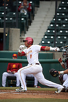 Adalberto Carrillo (8) of the Southern California Trojans bats against the Mississippi State Bulldogs at Dedeaux Field on March 5, 2016 in Los Angeles, California. Mississippi State defeated Southern California , 8-7. (Larry Goren/Four Seam Images)