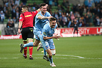 22nd May 2021, Melbourne, Australia;  Craig Noone of Melbourne City celebrates his goal during the Hyundai A-League football match between Melbourne City FC and Central Coast Mariners at AAMI Park in Melbourne, Australia.