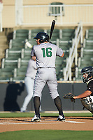 Diego Rincones (16) of the Augusta GreenJackets at bat against the Kannapolis Intimidators at Kannapolis Intimidators Stadium on June 21, 2019 in Kannapolis, North Carolina. The Intimidators defeated the GreenJackets 6-1. (Brian Westerholt/Four Seam Images)