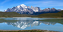 The Towers and Central Massif of Torres del Paine with reflection in Laguna Amarga. Torres del Paine National Park, Patagonia, Chile.