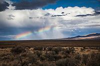 Clouds above.  Sage brush below.  It's a Rainbow Sandwich!  Captured along Interstate Highway 80 in northern Nevada.