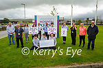 Members of the Listowel Youth Group who took part in a sponsored walk / Cycle from St Mary's Parish Church Listowel to University Hospital Kerry and presented a cheque for €3,368:00 on Friday to Ferghal Grimes (Manager UHK) for the for the staff as a thank you for their selfless and heroic work through Covid 19, pictured at the finish line on Friday at UHK. Kneeling l to r: John Godfrey, Conor Stack and Fiona O'Connor. Standing l to r: Joe Collins, Brian Godfrey, Hannah O'Connor, Ferghal Grimes, Dr Ahmed Abdeleziz, Sophy Stack, David Canty, Ellen Godfrey, Gemma Brosnan, Emer O'Neill and Canon Declan O'Connor