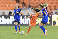 Houston, TX - Sunday Sept. 25, 2016: Andressa Machry, Beverly Yanez during a regular season National Women's Soccer League (NWSL) match between the Houston Dash and the Seattle Reign FC at BBVA Compass Stadium.