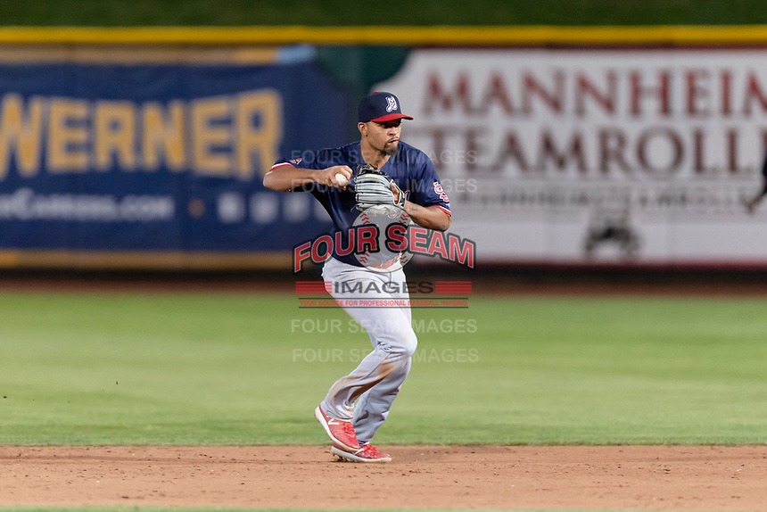 Memphis Redbirds shortstop Edmundo Sosa (12) during a Pacific Coast League game against the Omaha Storm Chasers on April 26, 2019 at Werner Park in Omaha, Nebraska. Memphis defeated Omaha 7-3. (Zachary Lucy/Four Seam Images)