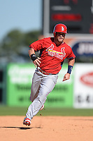 St. Louis Cardinals outfielder James Ramsey (92) during a spring training game against the Detroit Tigers on March 3, 2014 at Joker Marchant Stadium in Lakeland, Florida.  Detroit defeated St. Louis 8-5.  (Mike Janes/Four Seam Images)