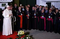BOGOTÁ - COLOMBIA, 09-09-2017:  El Papa Francisco se dirige a los feligreses a su llegada a la Nunciatura Apostolica en el cuarto día en Colombia. El Papa Francisco realiza la visita apostólica a Colombia entre el 6 y el 11 de septiembre de 2017 llevando su mensaje de paz y reconciliación por 4 ciudades: Bogotá, Villavicencio, Medellín y Cartagena. / Pope Francisco speech to the parishioners during his arrive to Apostolic Nunciature in his fourth day in Colombia. Pope Francisco makes the apostolic visit to Colombia between September 6 and 11, 2017, bringing his message of peace and reconciliation to 4 cities: Bogota, Villavicencio, Medellin and Cartagena. Photo: VizzorImage /  Inaldo Perez / Cont