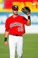 Joey Gallo (30) of the Hickory Crawdads warms up in the outfield prior to the game against the Kannapolis Intimidators at L.P. Frans Stadium on May 25, 2013 in Hickory, North Carolina.  The Crawdads defeated the Intimidators 14-3.  (Brian Westerholt/Four Seam Images)